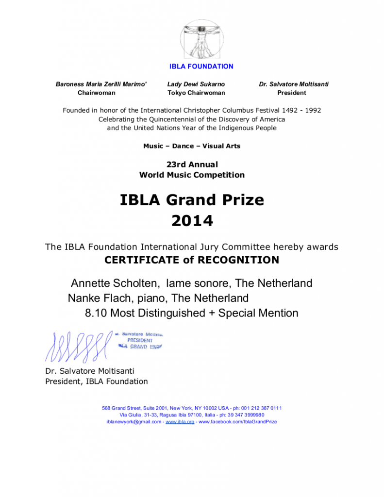 CERTIFICATE of recognition IBLA GRAND PRIZE