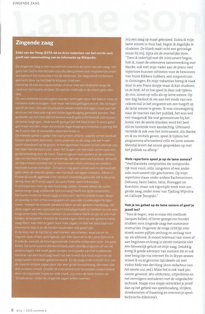Artikel Strijkersmagazine Arco ( ESTA Nederland)