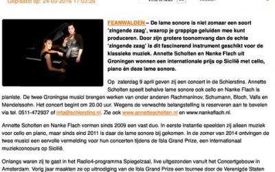 Concert met Zingende Zaag, Cello en Piano in de Schierstins
